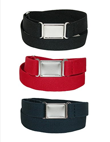 CTM Kids Elastic Stretch Belt with Magnetic Buckle (Pack of 3)