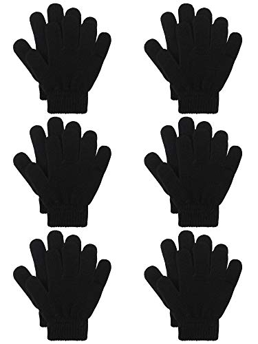 (Coobey 6 Pairs Kids Knitted Magic Gloves Teens Warm Winter Stretchy Full Fingers Gloves (Black, 12-16)