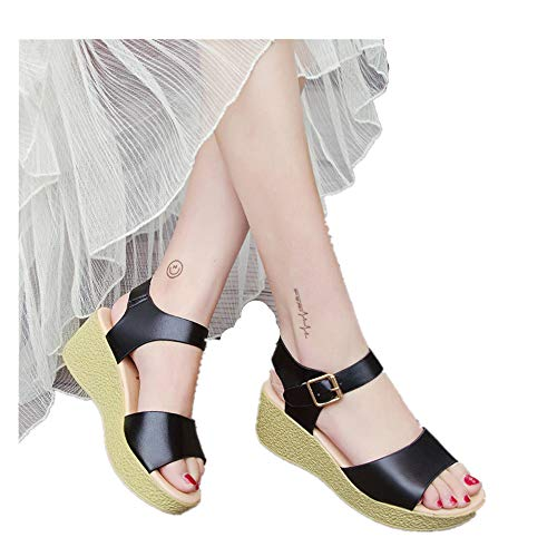 Vickyleb Shoes Wide Width Wedge Sandals for Women Womens Wedge Sandals Ankle Strap Cap Toe Espadrille Wedge Sandal Black