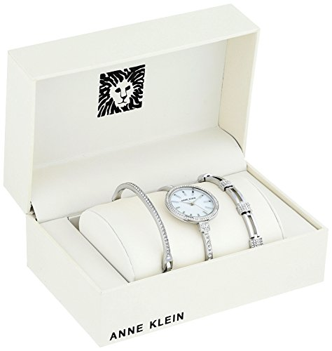 Anne Klein Womens AK/2847SVST Swarovski Crystal Accented Silver-Tone Watch and Bangle Set
