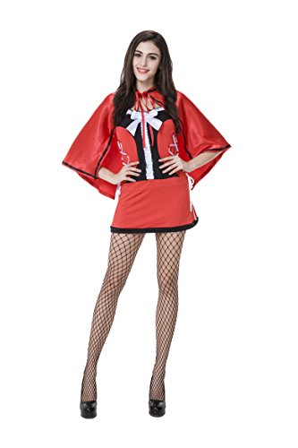 [Honeystore Women's Adult Red Hood Tutu Peasant Dress with Attached Hooded Cape Style 4] (Sexiest Couple Halloween Costumes)