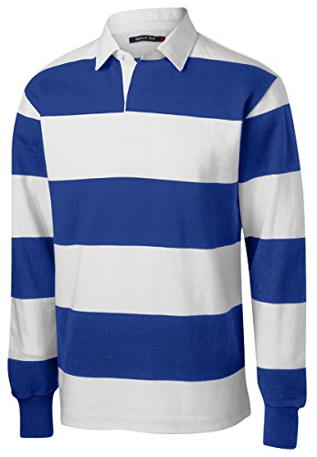 Sport-Tek Men's Long Sleeve Rugby Polo XL True Royal/ White (Rugby Jersey T-shirt)