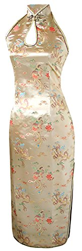 7Fairy Women's Gold Dragon Halter Backless Long Chinese Evening Dress Size 4 US
