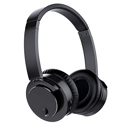 Bluetooth Headphones Over Ear, Pwow Bluetooth V4.1 Foldable Wireless Headphones Headset with Hi-Fi Deep Bass Stereo & Microphone, Soft Memory Earmuffs for PC/Cell Phone