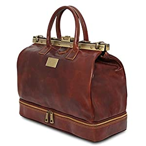 Tuscany Leather Barcellona Double-Bottom Gladstone Leather Bag Brown
