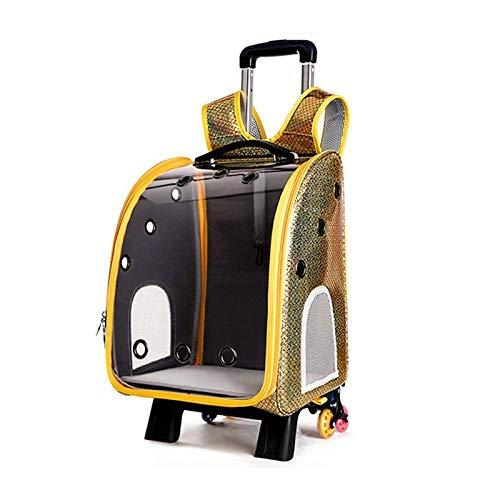 QKEMM Hundetasche Welpentasche Tragetasche aus Schultern Transparenter Flightcase Trolley für Kleinen und mittleren Hund…