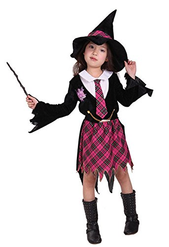 Halloween Costumes Witch Wizard Plaid Skirt Witch Hat Performance Clothing Girl (X-Large)