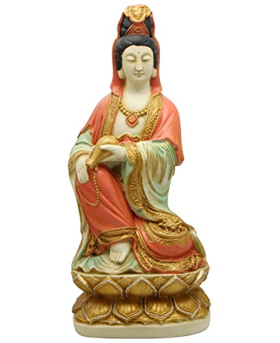 - Colorful Kuan Yin and Rosary Statue, 13 Inches
