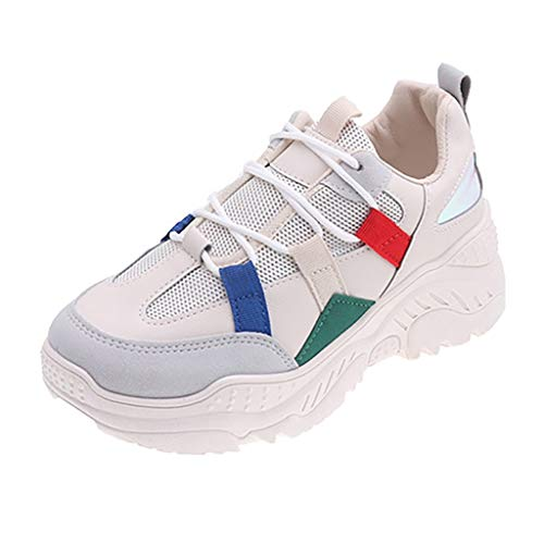 Sneakers for Women Dainzuy Thick Bottom Shoes Flats Comfortable Platform Lace-Up Fitness Casual Air Walking Shoe Beige