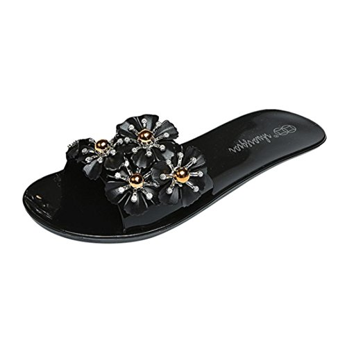 ❤️Women's Slippers, Neartime 2018 New Ladies Beach Floral Platform Flat Flop Casual Wedge Sandals Slip-On Shoes (6, Black)