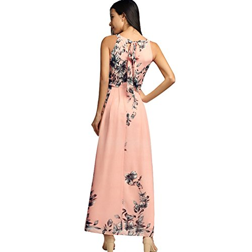 Afoxsos Neck Maxi Halter Chiffon Pink Women Floral Dress Casual Bohemia Print Dress q6nSfrqw