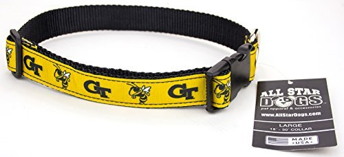 All Star Dogs Georgia Tech Yellow Jackets Ribbon Dog Collar - Large