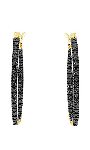 Black-Natural-Diamond-Hoop-Earrings-In-14K-Gold-Over-Sterling-Silver