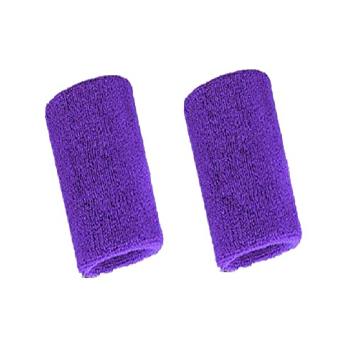 Mcolics 4' Inch Wrist Sweatband in 11 Athletic Cotton Wristbands Armbands (1 Pair) (Purple) ()