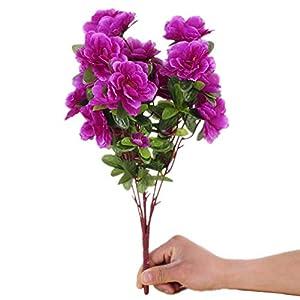 """Mynse 2 Bunchs 15.7"""" Silk Flowers Arrangement for Home Dining Living Room Wedding Decoration Artificial Azalea Flower Bouquet 70"""