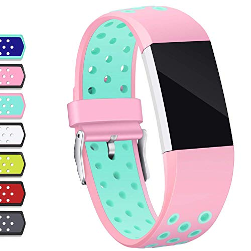 Hotodeal Compatible Fitbit Charge 2 Band, Classic Soft TPU Adjustable Replacement Accessory Bands Fitness Breathable Sport Strap Small Large Pink Teal