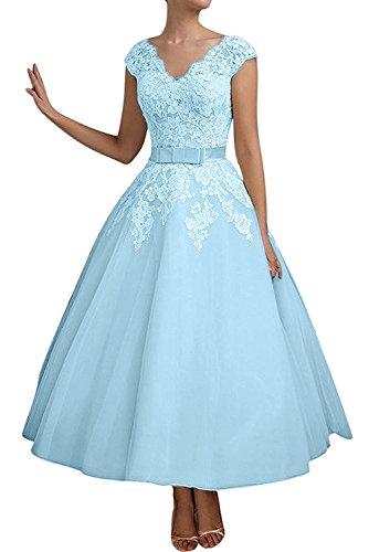 mia Abendkleider Blau Brautmutterkleider Navy Blau Hell Kleider Damen Linie La Kurzes Braut Jugendweihe Spitze A Znw0Indqt