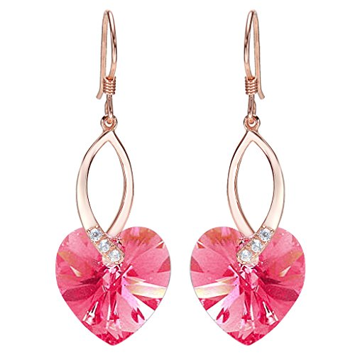 EleQueen 925 Sterling Silver CZ Love Heart French Hook Dangle Earrings Pink Tourmaline Color Made with Swarovski Crystals