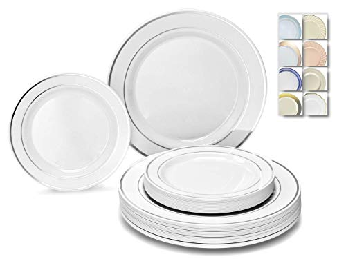 """ OCCASIONS"" 50 Plates Pack (25 Guests)-Heavyweight Wedding Party Disposable Plastic Plate Set -25 x 10.5"