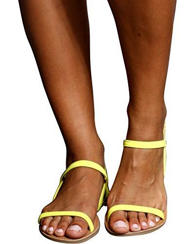 Qupid Women's Athena-1001ax Flat Sandal Neon Yellow 8.5 M US -