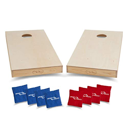 Sport Squad Premium Regulation Cornhole Game - Professional Grade Official Size Solid Wood Cornhole Boards with 8 Durable Portable Bean Bags - 4'x2' DIY Design - Indoor and Outdoor Compatible]()