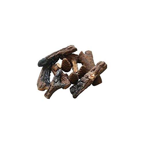 9 Piece Petite Ceramic Wood Gas Log Set (1 Rock Inch 4 Lava)