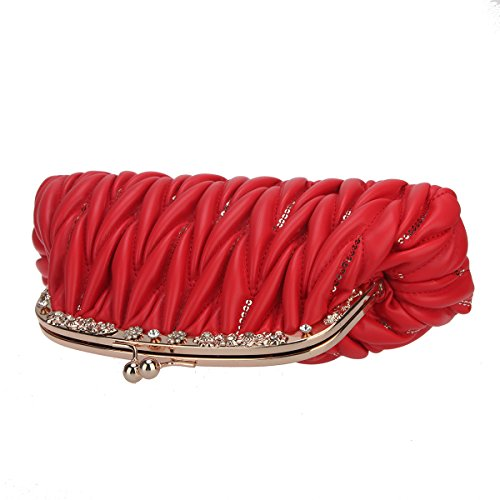 Pu Crystal Bags Women Handbags Bonjanvye Lock Kiss Sequins and for Red Leather Purses xAOtwpq1Iw