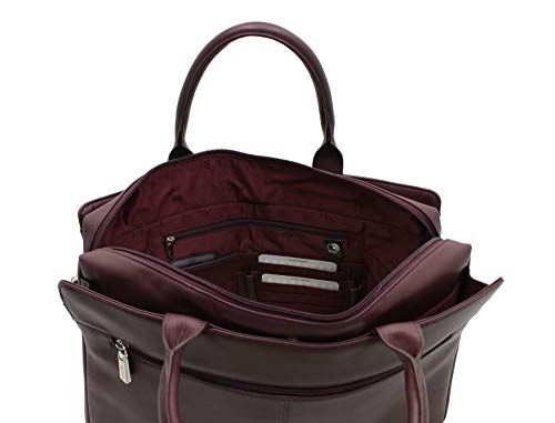 Leather Porte pour avec 18427 prune femme documents Ollie Visconti noire poignées ZH75wxdHq