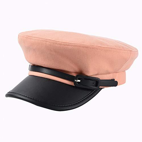 ZYKIMYONG Caps Women Newsboy Caps Autumn Patchwork Pu Brim Visor Caps Belt Decoration Cap