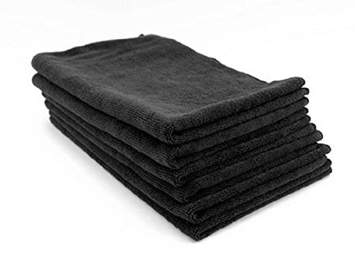 6 NEW BLACK MICROFIBER TOWELS CLEANING CLOTHS - Glasses Fixing Scratched
