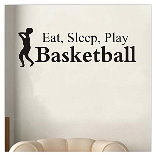 Wall Sticker, FTXJ Eat Sleep Play Basketball Letter Decal Boys Mens Room Sports Sticker