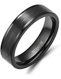 6mm Titanium Wedding Band Flat Matte Finish Pipe Cut Black Rings for Men Women