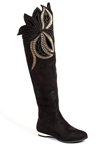 Platte Dijhoogte Dameslaarzen Van Lady Couture London Zwart
