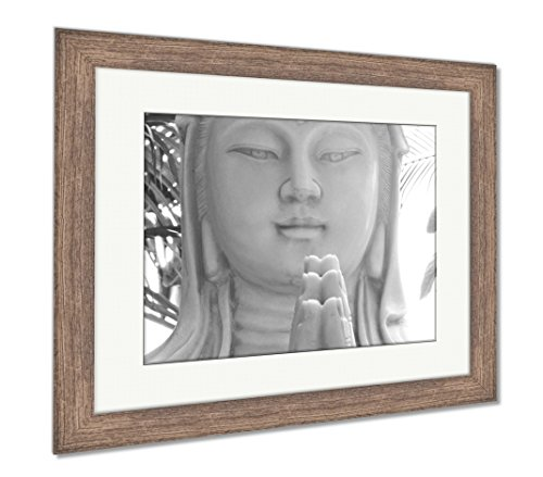 Ashley Framed Prints The Chinese Goddess of Compassion, Wall Art Home Decoration, Black/White, 30x35 (Frame Size), Rustic Barn Wood Frame, AG5265130 ()