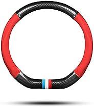 Ergocar Car Steering Wheel Cover Non-Slip Car Steering Wheel Protector Sport D-Shape Carbon Fiber & PU Lea