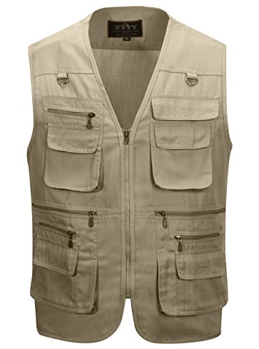Alipolo Men's Fishing Vest Multi Pockets Photography Outdoor Jacket Vest Khaki US XXL/Label 5XL by Alipolo