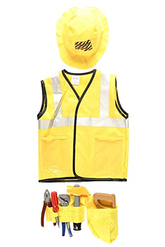 NEWCOS Construction Worker Costume for Kids Halloween Engineer