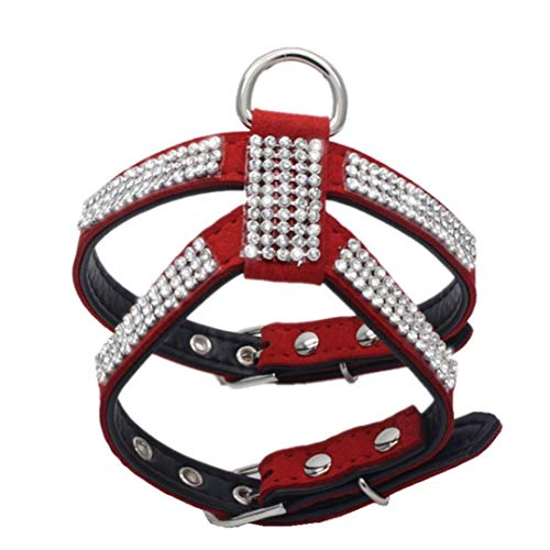 Gallity Women Blouse clearance sale Adjustable Collar Pet Dog Leads Rhinestone Diamond Chest Straps Dog Necklace (M, red)