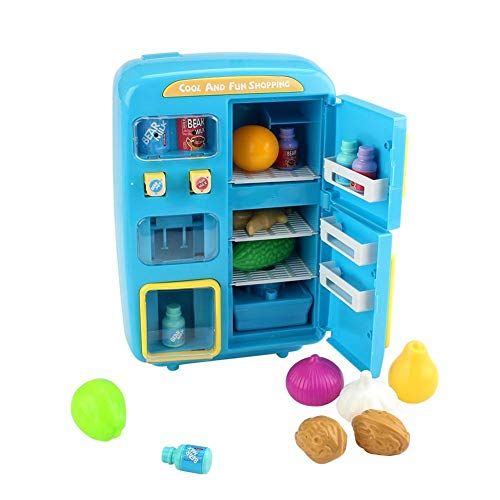 Kids Refrigerator - Toy Fridge for Kids,Electric Simulation Mini Toy Refrigerator with Play Food Set,Vending Machine Play House Toy for Real Water|Lighting|Ringing Function
