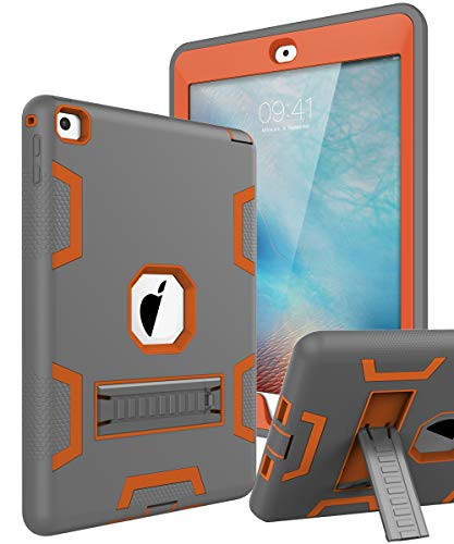TOPSKY iPad Air 2 Case, iPad A1566/A1567 Kids Proof Case, Heavy Duty Shockproof Rugged Armor Defender Kickstand Protective Cover Case for iPad Air 2 Grey Orange