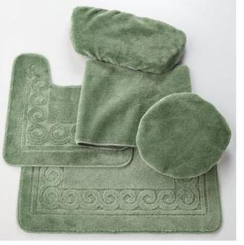 Madison Industries Scroll 5 Piece Rug and Toilet Tank Set, Sage Green - Tank Cover Set