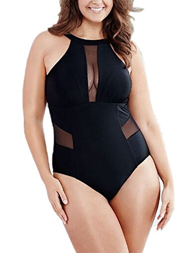 (Creabygirls Womens Plus Size Monokini Bikini Hollow Out Halter Swimsuit (2X-Large(US12-14), Black3))