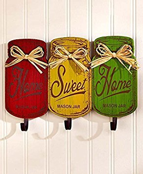 (Wooden Red Yellow Green Rustic Home Sweet Home Metal Hooks Rack Utensil Holder Towel Hanger Wall Hanging Plaque Primitive Mason Jar Tuscan French Country Kitchen)
