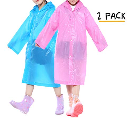 - Opret Portable Kids Children Rain Poncho, Reusable Raincoat with Hoods and Sleeves, Durable, Lightweight and Perfect for Outdoor Activities (Blue&Pink)