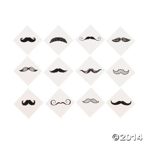 Mustache Party Tattoos- 36 Count, -