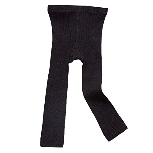Leggings Ribbed - Happy Kido Toddler Baby Basic Ribbed Leggings Footless Tights Kids Little Girls Dress Bottom Pants (Black, 1-3 Years)