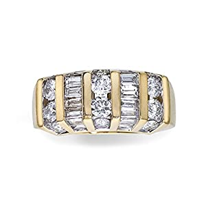 2CT Diamond Round/Baguette Band in 14K Yellow Gold
