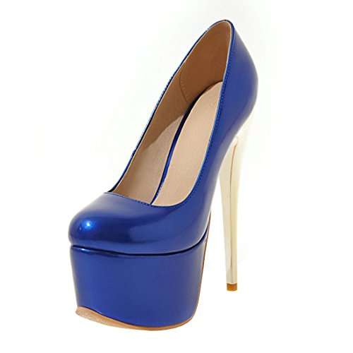 Plateau Damen High mit Stiletto Schuhe Party Absatz Geschlossene Elegant Heels Blau 16cm Pumps YE Lack SwxRnR