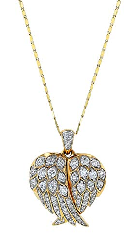 Olivia Paris 14K Gold Angel Wings 1 Carat ctw Diamond Locket Pendant Necklace (H-I, SI2-I1), 18