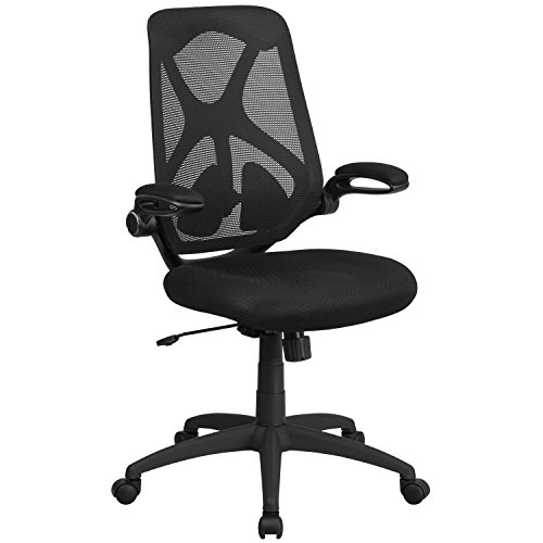 Flash Furniture High Back Black Mesh Executive Swivel Chair with Adjustable Lumbar, 2-Paddle Control and Flip-Up Arms